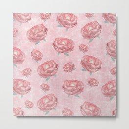 Watercolour red peonies flowery pattern Metal Print