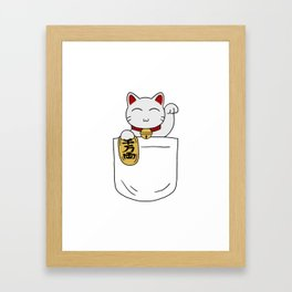 Maneki Neko Pocket Framed Art Print