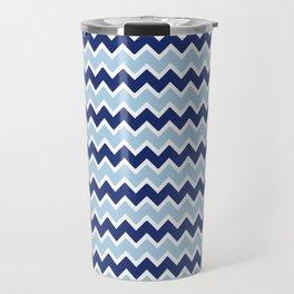 Navy Blue and Light Blue Chevron Travel Mug