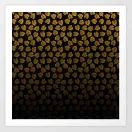 Gold Metallic Foil Photo-Effect Monstera Giant Tropical Leaves Faded on Solid Black Art Print