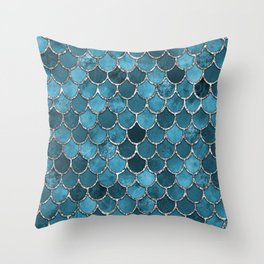 Turquoise Silver Mermaid Scales Throw Pillow