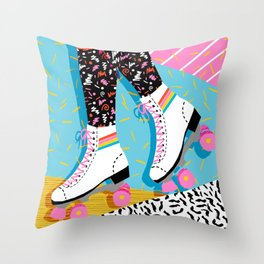 Steeze - 80's memphis rollerskating rad neon trendy art gifts throwback retro vibes Throw Pillow