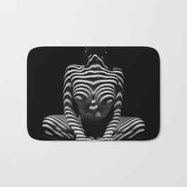 1152-MAK Abstract Nude Black & White Zebra Striped Woman Topographic Feminine Body Bath Mat