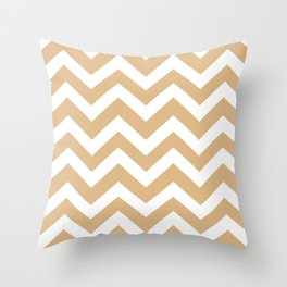 Burlywood - brown color - Zigzag Chevron Pattern Throw Pillow