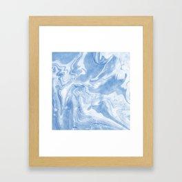Ice Blue Marble Framed Art Print