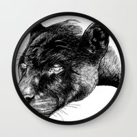 panther Wall Clocks featuring Panther by Mark Matlock