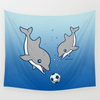 dolphins Wall Tapestries featuring Soccer Dolphins by joanfriends