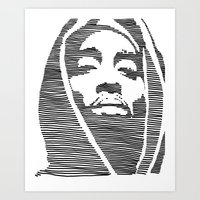 tupac Art Prints featuring Tupac  by Colin Douglas Gray