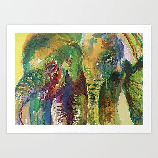 Elephant Pals Art Print