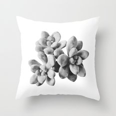 Succulent Blooms - Grayscale Throw Pillow