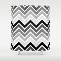 plain Shower Curtains featuring ZigZag - Plain by Emelie Turander