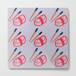Japanese Sushi with Chopsticks Pattern with Pastel Purple Background Metal Print