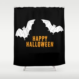 Happy Halloween flying bats Shower Curtain