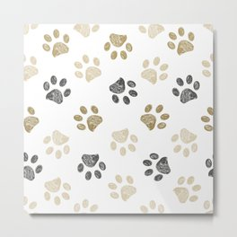 Doodle grey and gold paw print seamless fabric design repeated pattern background Metal Print