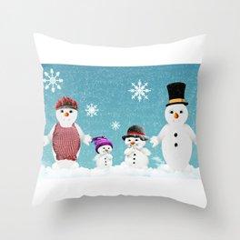 Christmas Snow Family Throw Pillow