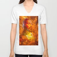 jesus V-neck T-shirts featuring Jesus by Saundra Myles
