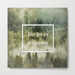 Green rainy forest with fog quote Metal Print