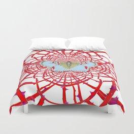ARTISTIC RED-WHITE BUTTERFLY DREAM CATCHER WEB Duvet Cover
