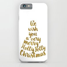 Holly Jolly Christmas - Gold glitter Typography iPhone 6s Slim Case