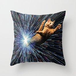 Cat Space vortex in galaxy attack speed of light Throw Pillow
