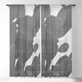 Cactus in Black And White Sheer Curtain
