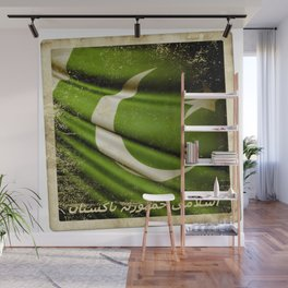 Islamic Republic of Pakistan grunge sticker flag Wall Mural