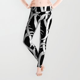 Abstract snakes pattern black and white Leggings