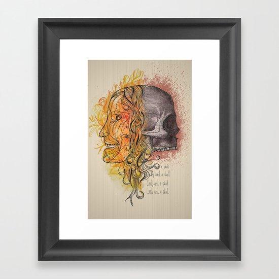 Lady and a skull Framed Art Print