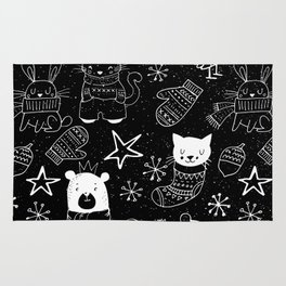 Merry Christmas - Simple X-mas Fun Doodle - Mix and Match with Simplicity of Life Rug
