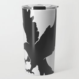 vector silhouette flying eagle on a white background Travel Mug