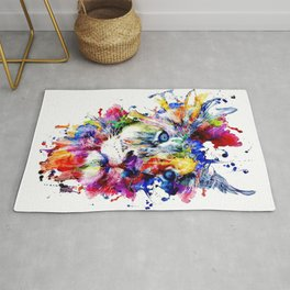Colorful Lion, Lion Face Rug