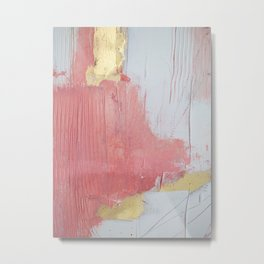 Melody: a pretty minimal abstract painting in gold pink and white by Alyssa Hamilton Art Metal Print
