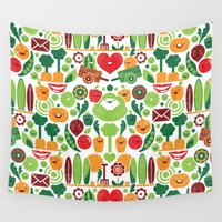 vegetables Wall Tapestries featuring Vegetables tile pattern by DWatson