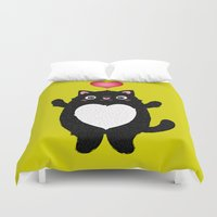 fat Duvet Covers featuring Fat Cat by Anna Alekseeva kostolom3000