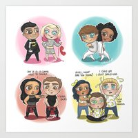 cyrilliart Art Prints featuring Adventures of 1D & LM by Cyrilliart