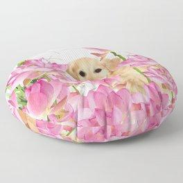 Labrador Retrievers with Lotos Flower Floor Pillow