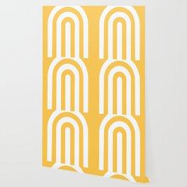 yellow and white retro u stripes Wallpaper