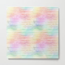 Small Bright Horizontal Pastel Watercolor Stripes and Lines Metal Print