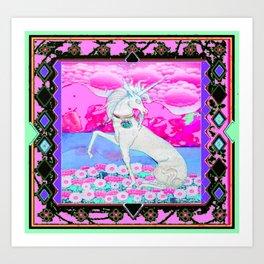 Decorative Fantasy White Unicorn Pink Art Art Print