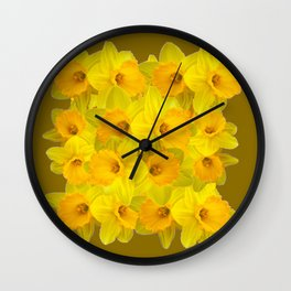 Olive Colored Golden Daffodile Floral Abundance Wall Clock