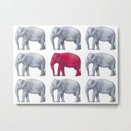 Elephants Red Metal Print