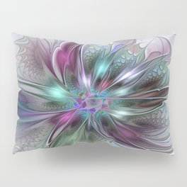 Colorful Fantasy Abstract Modern Fractal Flower Pillow Sham