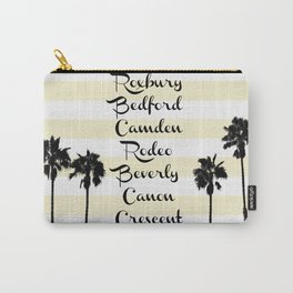 Beverly Hills Street Names Palm Trees Yellow Stripes Carry-All Pouch