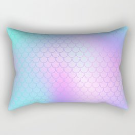 Turquoise Pink Mermaid Tail Abstraction Rectangular Pillow