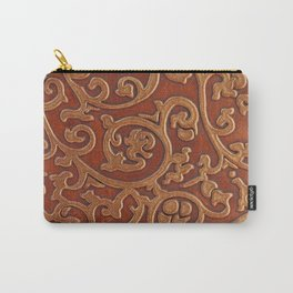 Golden Reddish Brown Tooled Leather Carry-All Pouch