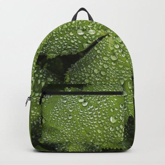 Water drops on fresh green Leaf Backpack
