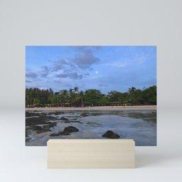 Sunset Beach with Moon Mini Art Print