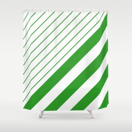 Green And White Stripes Pattern Shower Curtain