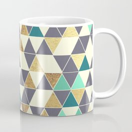 Modern Gray White Teal and Faux Gold Triangles Coffee Mug