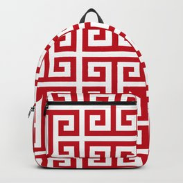 Pomegranate Red and White Greek Key Pattern Backpack